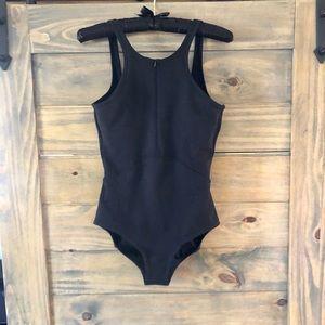 Zella NWT Black High Front w zipper, low V back
